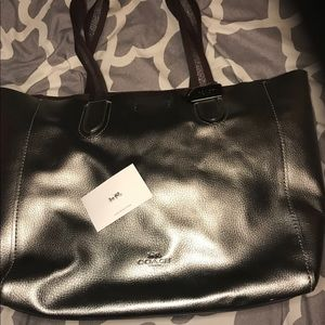 COACH PEBBLE LEATHER GUNMETAL LARGE DERBY TOTE